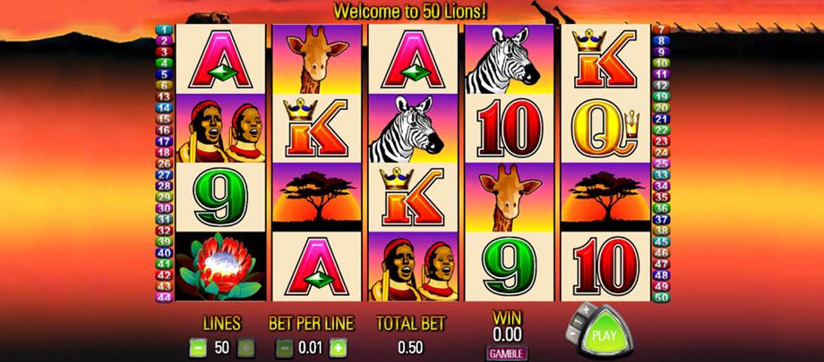 50 Lions Slots Online